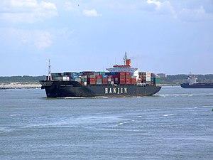 Hanjin Kaohsiung IMO 8913667, leaving Port of Rotterdam, Holland 08-Jul-2007.jpg