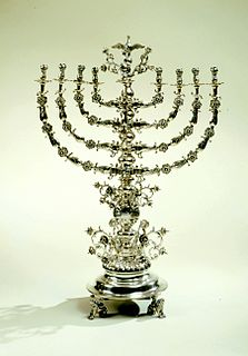 nine-branched candelabrum lit during the eight-day holiday of Hanukkah