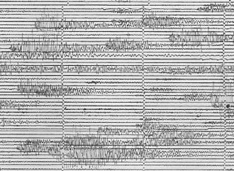 Harmonic tremor - Seismograph recording of harmonic tremor.