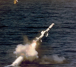 USS Baton Rouge (SSN-689) - Image: Harpoon launched by submarine