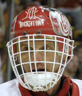 Dominik Hašek - Hašek during a 2007–08 game with the Detroit Red Wings