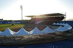 The Hasely Crawford Stadium preparing to be used for a concert in 2009