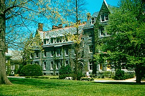 Addison Hutton - A 1958 photograph of Barclay Hall (1887) at Haverford College. Barclay Hall, named after Scottish Quaker Robert Barclay, was designed by architect Addison Hutton.