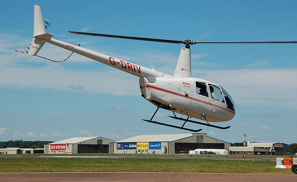 Heli Air Robinson R44 Raven II arrives RIAT Fairford 10thJuly2014 arp
