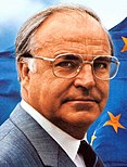 Portait of Helmut Kohl in front of European Flag