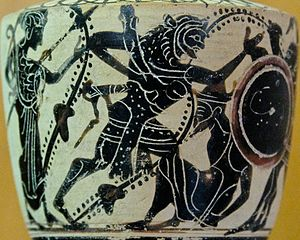 White ground technique - Attic white-ground lekythos (type I) depicting Herakles fighting Geryon, Museo archeologico regionale Antonio Salinas, Palermo