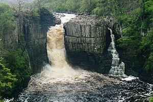 High Force - A view including the now rarely seen second fall on the right