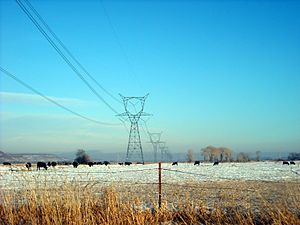 Alternating current - High voltage transmission lines deliver power from electric generation plants over long distances using alternating current. These lines are located in eastern Utah.