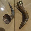 Historisk museum (Cultural History Museum) Middelaldersalen Oslo Norway 2020-02-26 Drikkehorn 1 1400- t HELP MARIA SALVE BERSVEIN A MIK, 2 1300-tallet (Medieval drinking horns 15c. and c. 1300) DSC04474.jpg