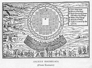 Hochelaga (village) - La Terra de Hochelaga Nella Nova Francia (1909), based on an illustration from 1565.
