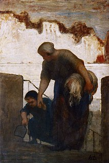 <i>The Laundress</i> (Daumier) painting by Honoré Daumier (Paris)