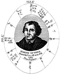 Natal chart for Martin Luther, also appearing in Sibly's Astrology.