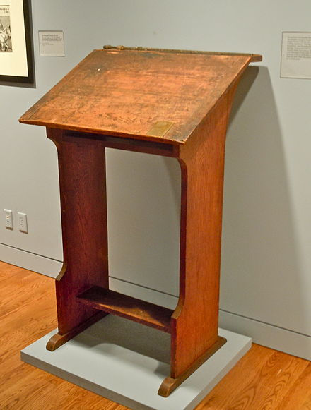 Drawing desk on which Pyle produced his King Arthur drawings, at the Delaware Art Museum