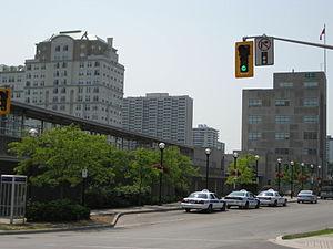 Hunter Street (Hamilton, Ontario) - Hunter Street West, East of the Go Transit Station