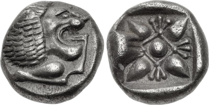 IONIA, Miletos. Late 6th-early 5th century BC. AR Obol (9mm, 1.07 g). Forepart of lion left, head right Stellate and floral design within incuse square