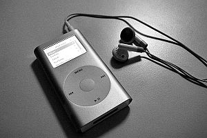 iPod Mini with headphones