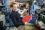 ISS-49 Kate Rubins and Anatoli Ivanishin during an emergency drill in the Destiny lab.jpg