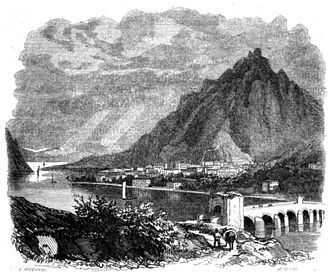 The Betrothed (Manzoni novel) - A view of the Lake Como, chapter 1, engraving by Francesco Gonin (1808–1889)