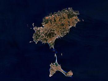 Satellite image of Ibiza (above) and Formentera (below)