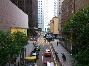 Ice House Street - The northern end of Ice House Street, near the junction with Chater Road.  Connaught Road can be seen one block beyond Chater.