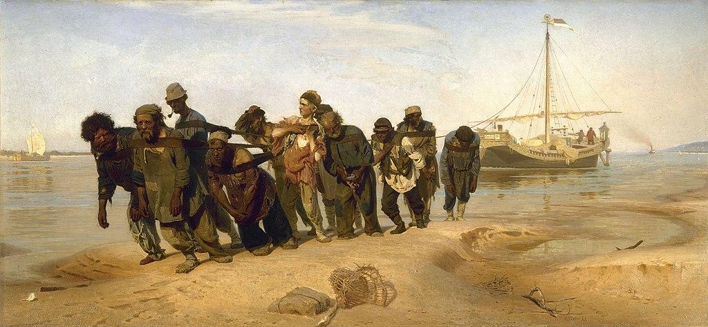 Les Bateliers de la Volga d'Ilia Répine au musée d'art russe de Saint Petersbourg.