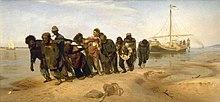 Gli alatori del Volga in un dipinto di Ilja Repin