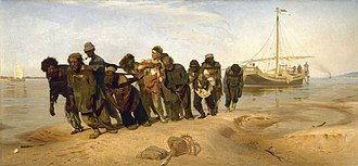Volga River - Ilya Yefimovich Repin's painting Barge Haulers on the Volga