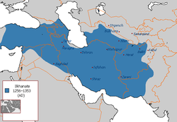 The Ilkhanate at its greatest extent