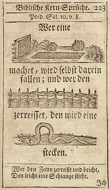 c56d5923 Både Forkynnaren og Ordstøka i Bibelen inneheld visdomsord tillagt kong  Salomo. Bildet viser eit sitat frå Forkynnaren 10, 8 gjengjeve i ein  tyskspråklig ...