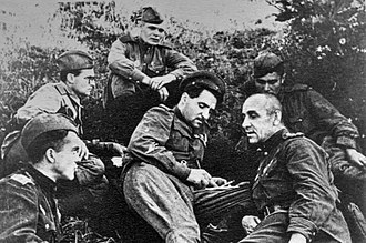 Ilya Vlasenko - Konstantin Simonov (in center) and Ilya Vlasenko (right) at the command post of the 75th Guards Rifle Division  near Ponyri. Battle of Kursk. 1943