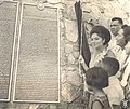 Imelda Marcos at the Bataan Death March Memorial Plaque.jpg