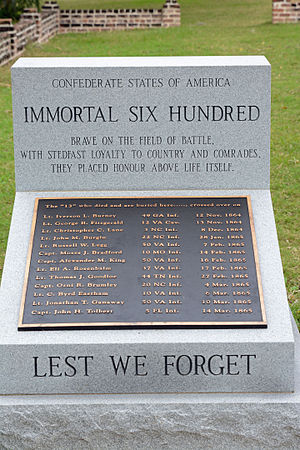 """Immortal Six Hundred - Monument to the Confederate """"Immortal Six Hundred"""" at Fort Pulaski National Monument in Savannah, Georgia"""