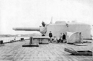 Russian 12 inch 40 caliber naval gun - Aft turret of ''Andrei Pervozvanny''.