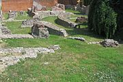 Remains of the Imperial palace of Mediolanum (Milan). The imperial palace (mainly built by Maximianus, colleague of Diocletian) was a large complex with several buildings, gardens, courtyards, for Emperor's private and public life, for his court, family and imperial burocracy