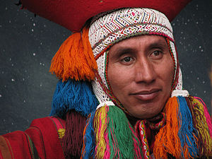 A Cuzco native participates in a live natitivi...