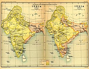 Indian Rebellion of 1857 - India in 1765 and 1805 showing East India Company-governed territories in pink.