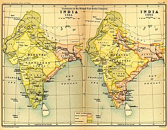 Indian Rebellion of 1857 - India in 1765 and 1805, showing East India Company-governed territories in pink