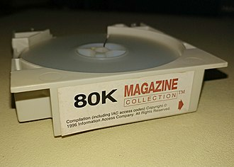 InfoTrac - At the center of each InfoTrac cartridge was a reel of microfilm containing images of full magazine pages. The cartridges could be inserted in proprietary readers for automatic threading and rewinding.
