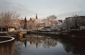 Innerste - River Innerste in the center of Hildesheim in winter.