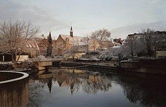Innerste - River Innerste in the center of Hildesheim in winter