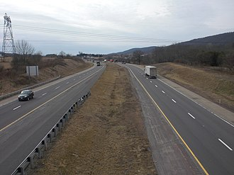 Median strip - A grass median strip on a highway in Pennsylvania, United States