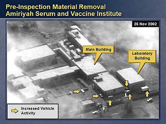 National Reconnaissance Office - Serum and Vaccine Institute in Al-A'amiriya, Iraq, as imaged by a US reconnaissance satellite in November 2002.