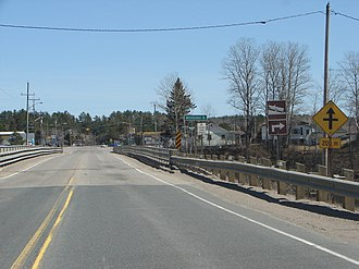 Huron Shores - Highway 17 and bridge over the Mississagi River in Iron Bridge.