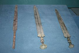 Iron sword and two bronze swords, Warring States Period