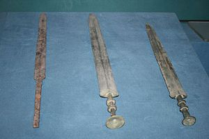 Jian - An iron sword and two bronze swords from the Chinese Warring States period