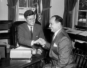 DeLesseps Story Morrison - Morrison (right) with President John F. Kennedy, 1961