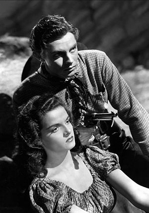 The Outlaw - Jack Buetel and Jane Russell in the film.