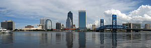 Panorama of the Jacksonville city skyline from...