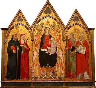 Jacopo di Cione - Madonna and Child with Saints, tempera and gold on panel by Jacopo di Cione, 1391, Honolulu Museum of Art.  This triptych once hung in the Church of San Lorenzo, Florence.  The four saints may represent (from left to right) St. Amata, St. Concordia, St. Andrea, and St. Marco Papa, each of whose relics are in San Lorenzo.