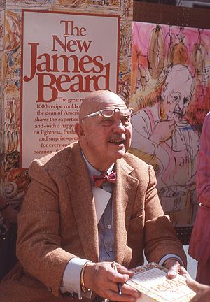 James Beard - James Beard signing books at a street fair in midtown Manhattan in 1981